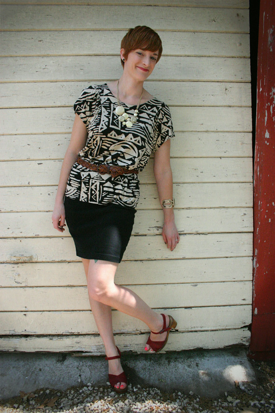 Belted Tribal Blouse with Pencil Skirt