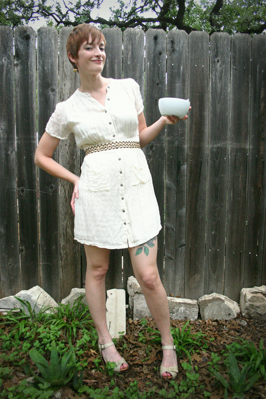 Belted White Dress