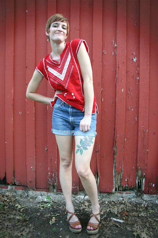Vintage Mexican Top and Cutoffs