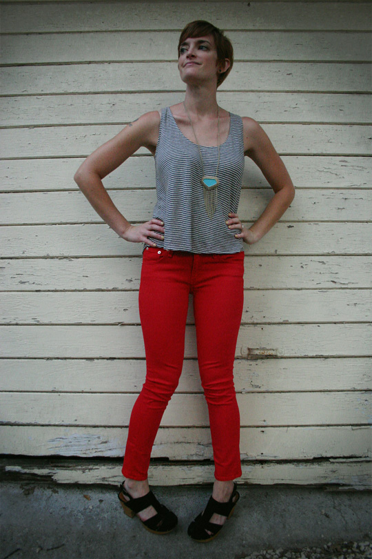 Red Jeans with Turquoise
