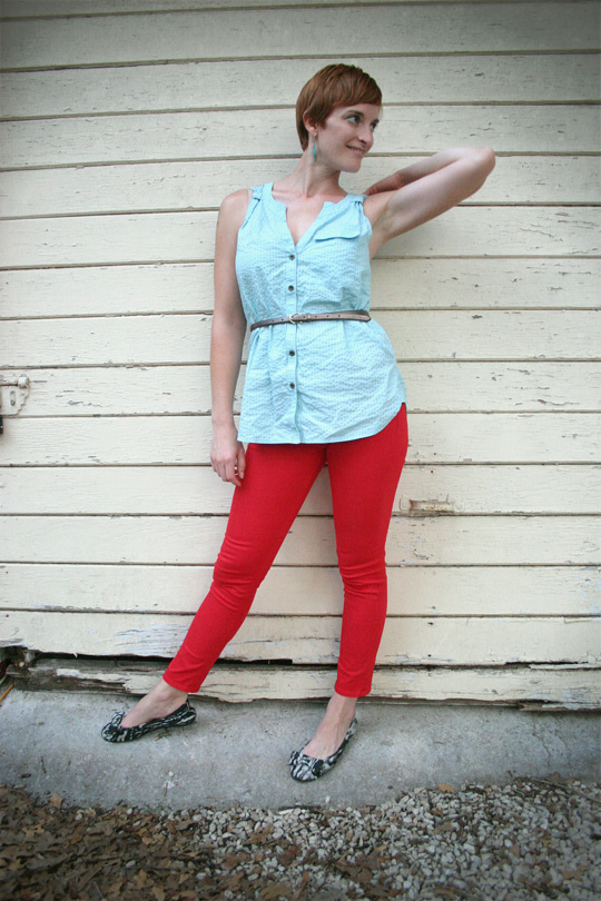 Red Jeans Blue Top