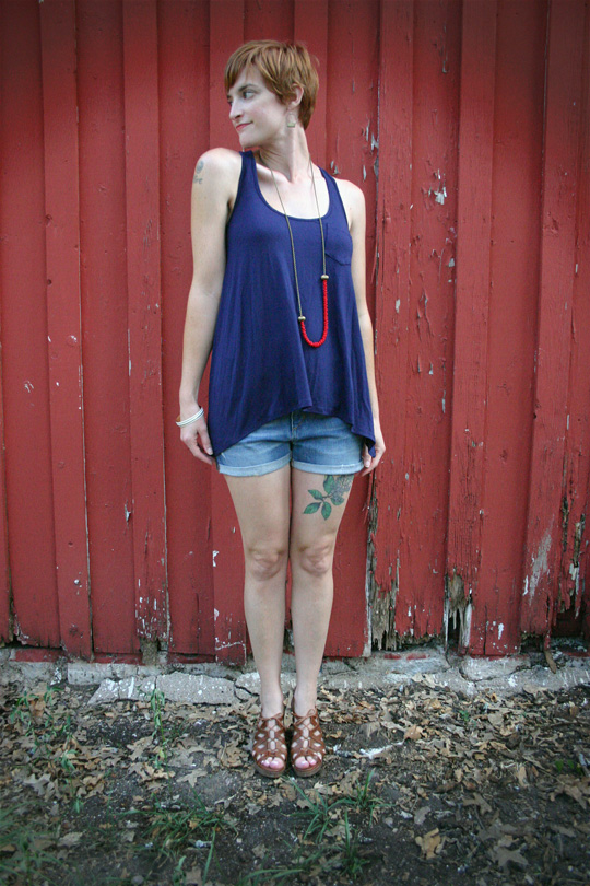 Racer Back Top with Cutoffs