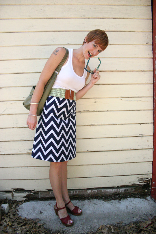 Chevron Striped Skirt Work Outfit