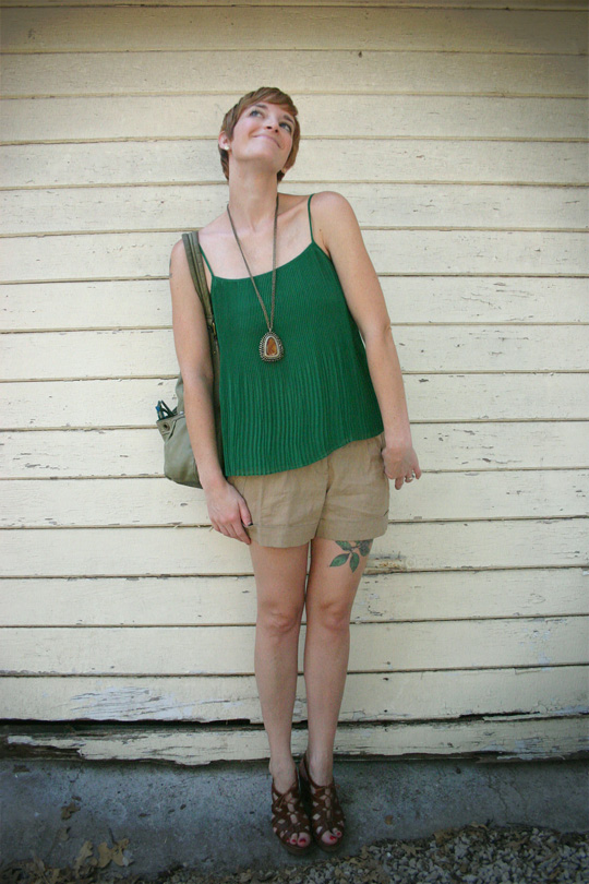 Green Pleated Top With Shorts