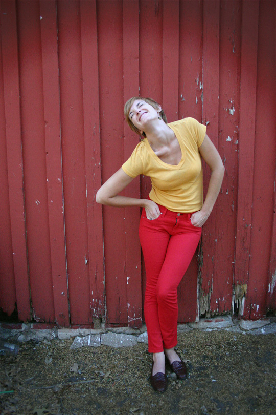 Red Jeans and Mustard Top