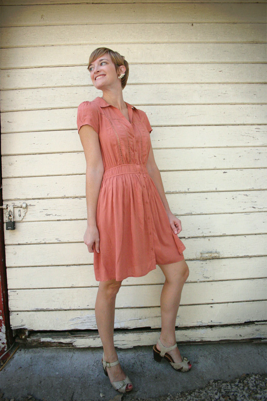 peachy orange day dress