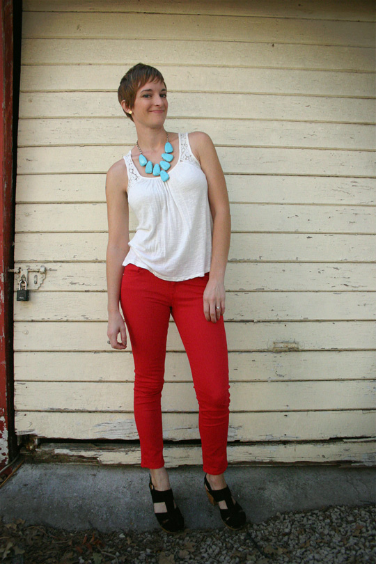 Red Jeans and Turquoise Necklace