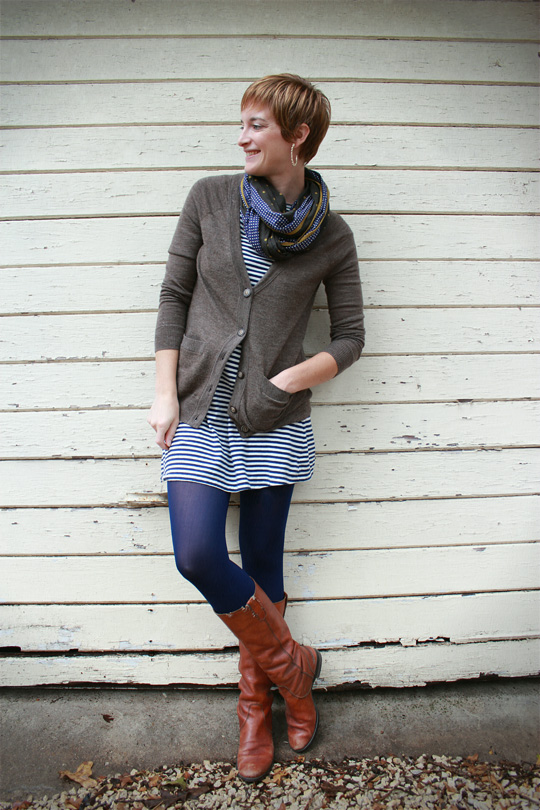 Mixed Prints and Cardigan over Dress