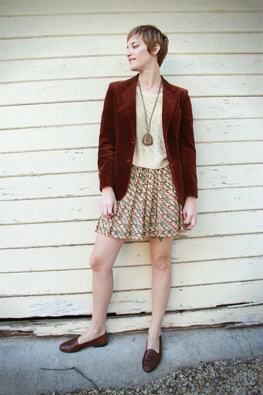 Blazer and Printed Skirt
