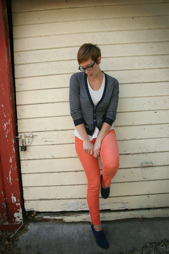 Purple Glasses and Coral Pants