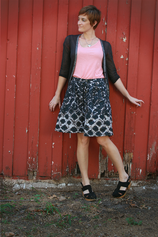 patterned skirt and cardigan