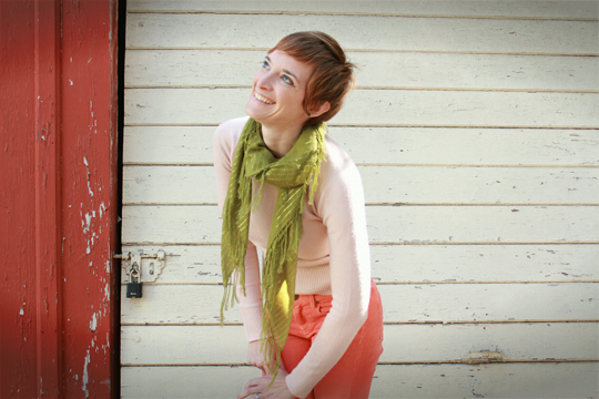 bright coral pants with pink and green