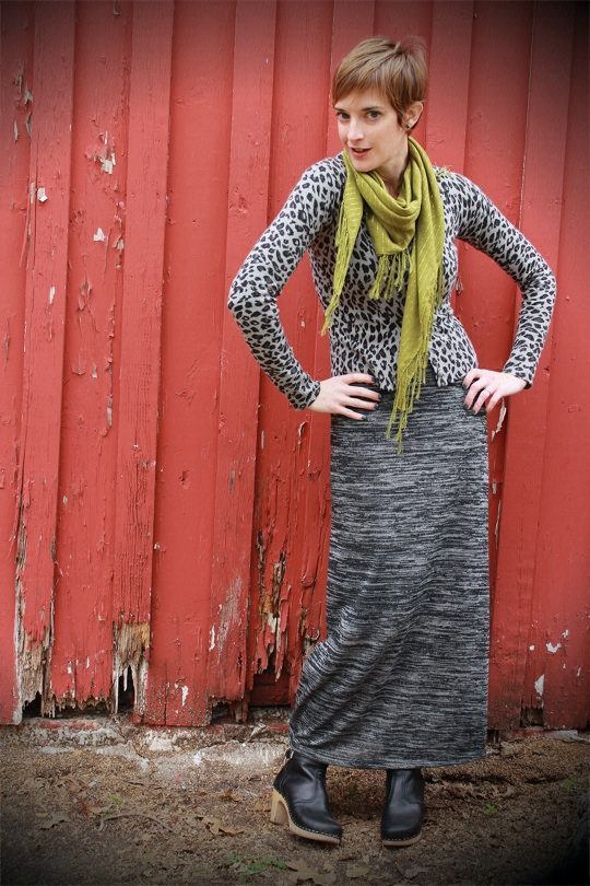 Maxi Dress with Leopard Cardigan