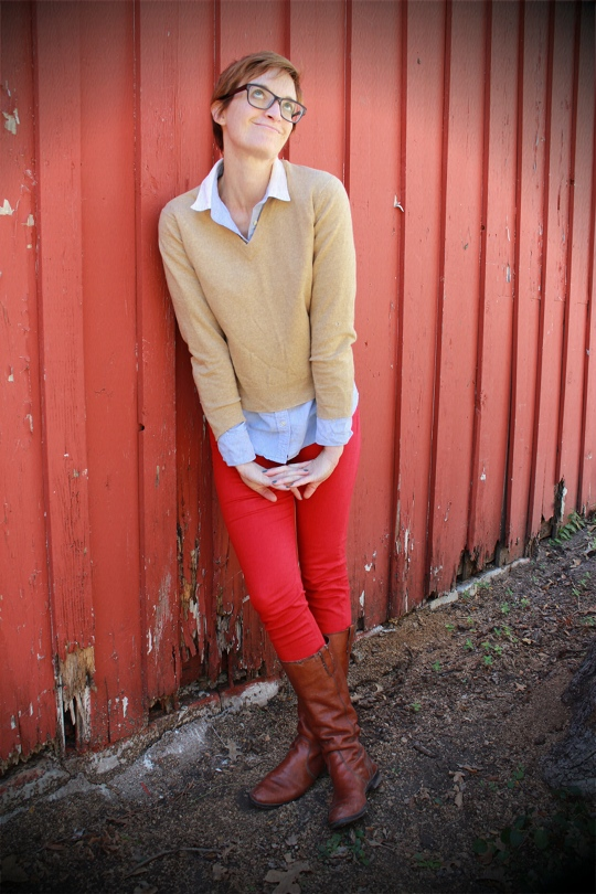Preppy Casual Red Jeans Outfit