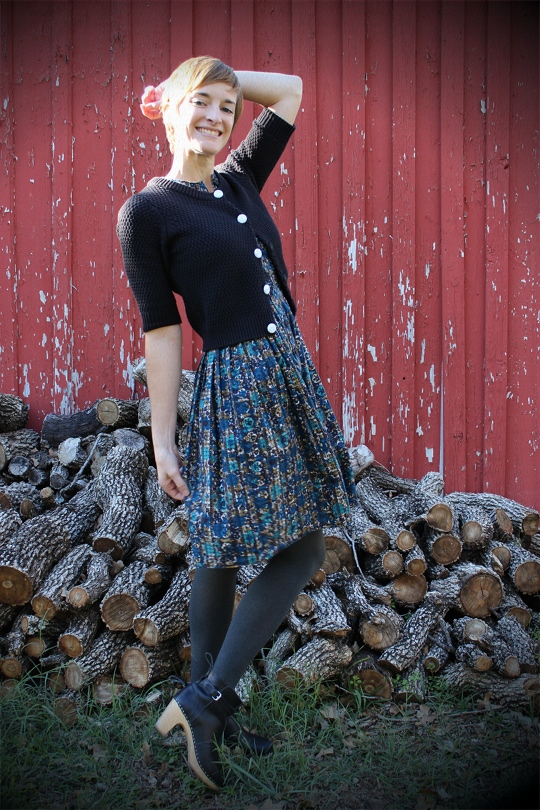 vintage dress and cardigan
