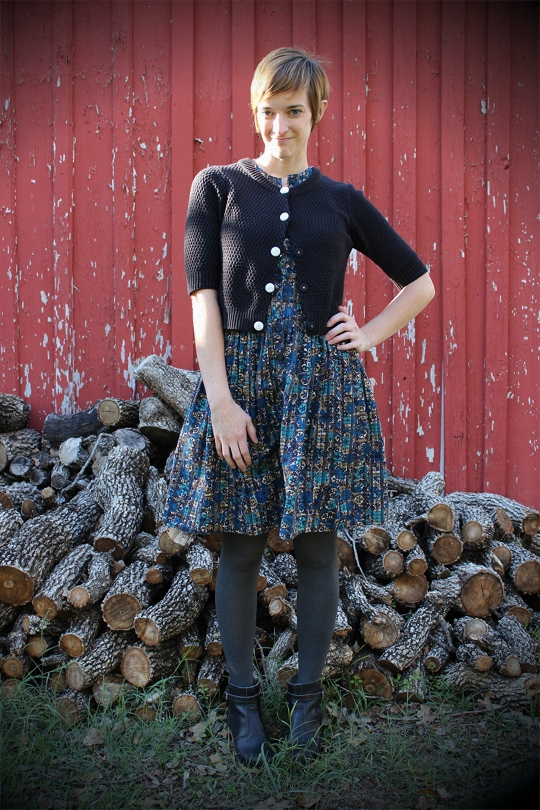 vintage dress with cardigan