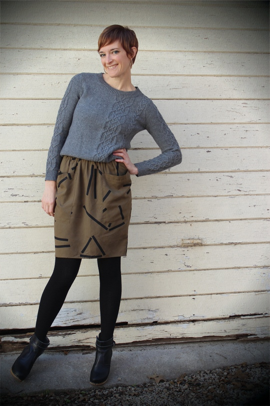 cable knit sweater with silk skirt