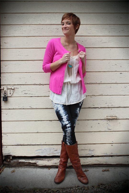 hot pink cardigan tie dyed jeans