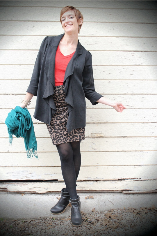 long blazer with leopard print skirt
