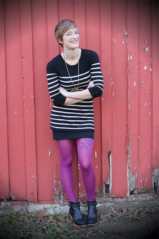Purple tights striped sweater
