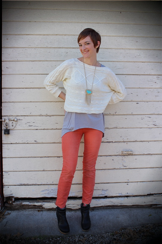 Coral Pants Layered Sweater Ankle Boots