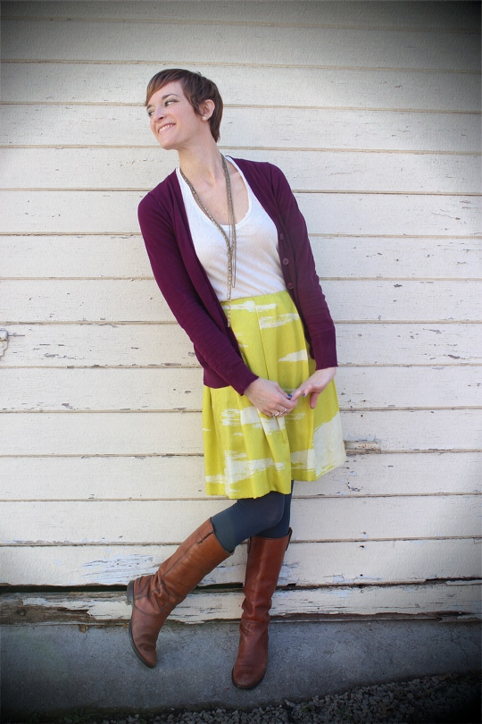Chartreuse and Plum Outfit