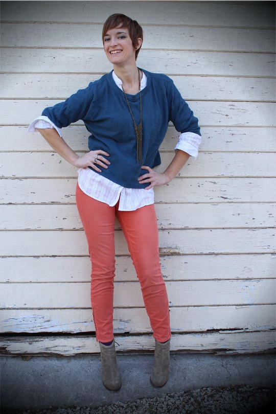 ankle boots and coral pants