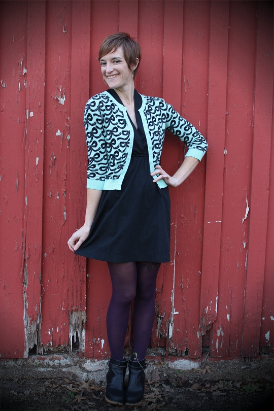 bright patterned cardigan outfit