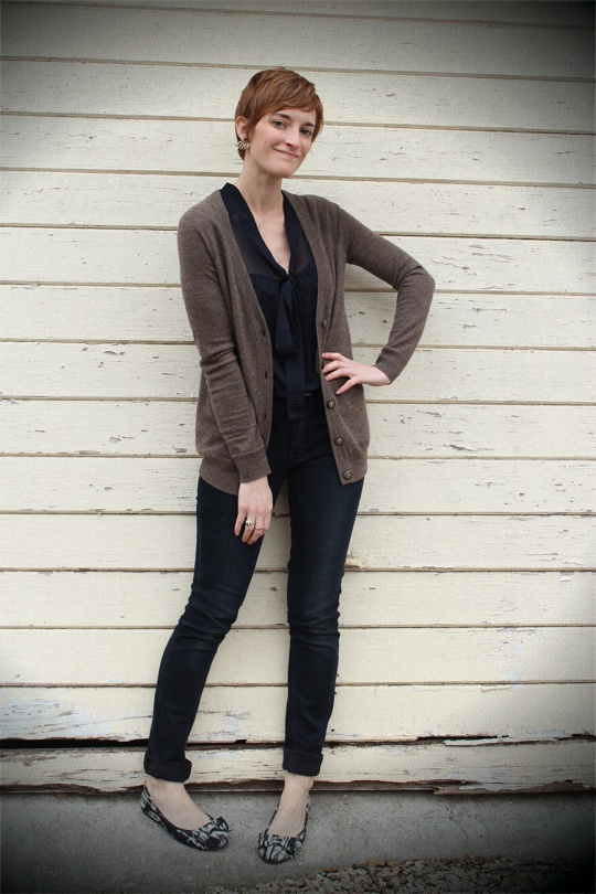tie-front blouse with cardigan