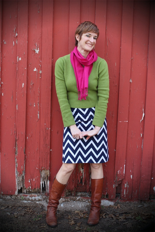 chevron skirt with color