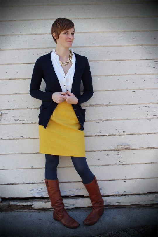 yellow skirt in winter