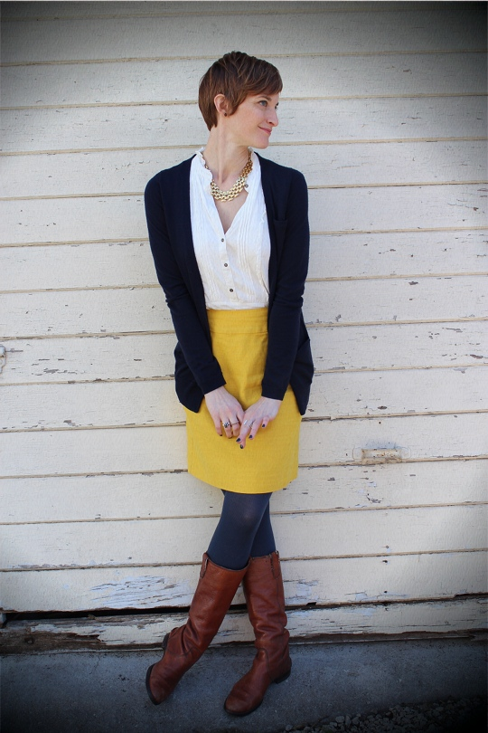 yellow skirt for work in winter