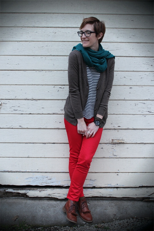 red jeans and teal