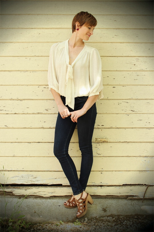 sheer tie front blouse