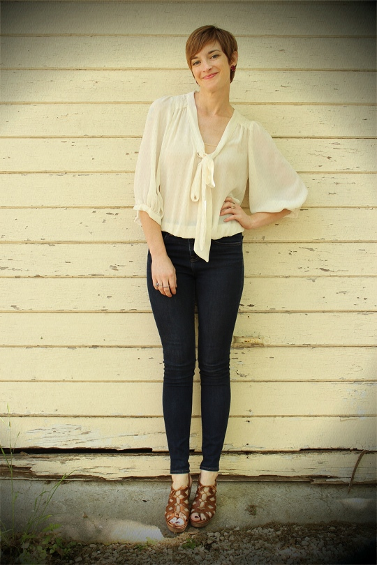 Sheer tie-front blouse