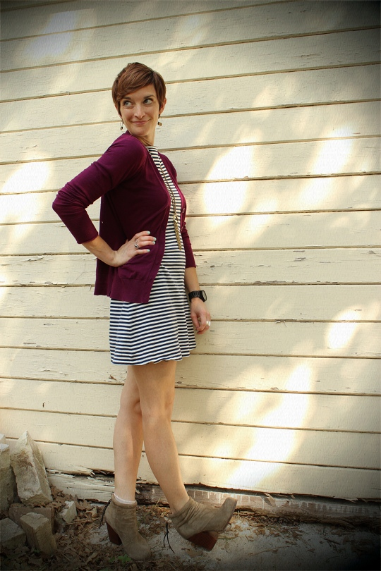 striped dress and ankle boots