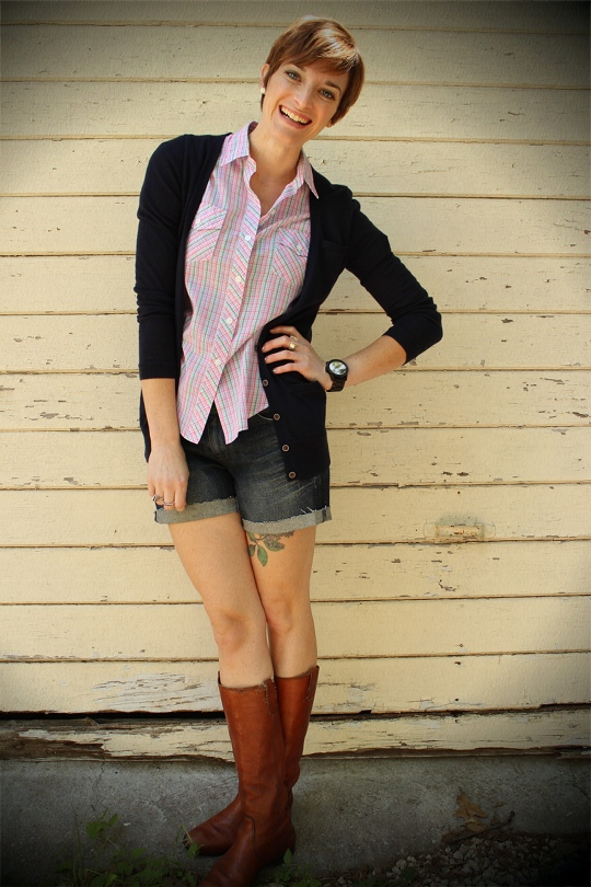 shorts with boots and cardigan