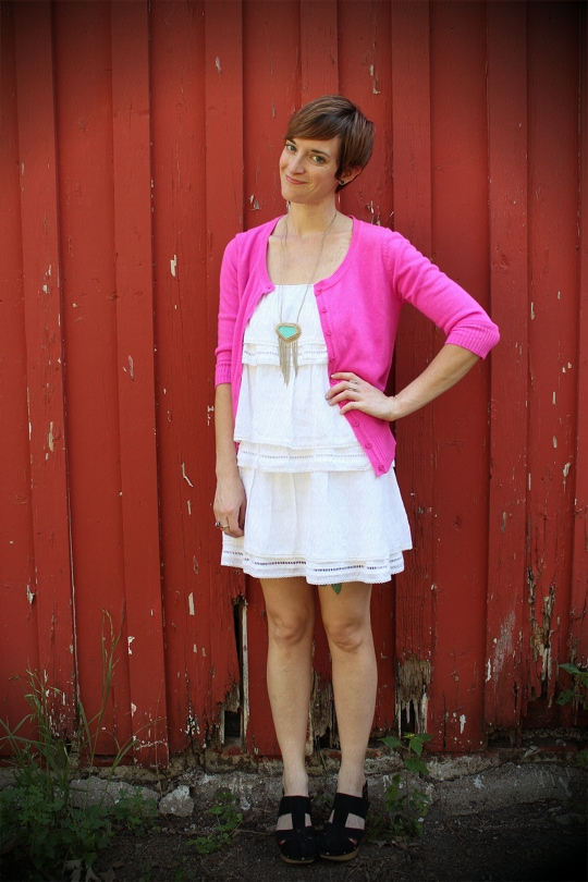 ruffle dress and hot pink cardigan
