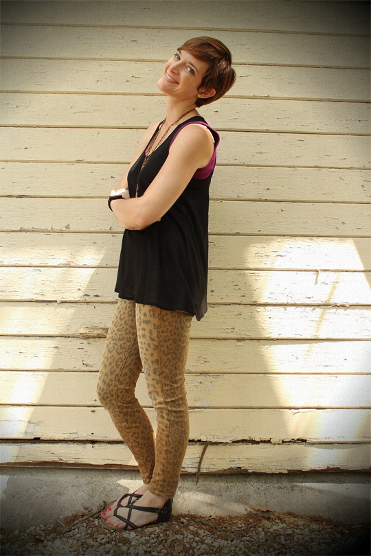 long top and leopard jeans