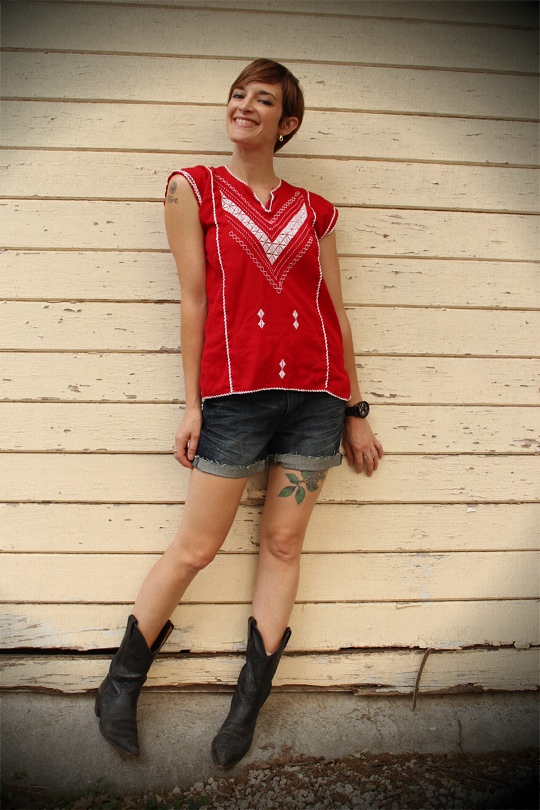 Vintage Mexican Top and Cowboy Boots