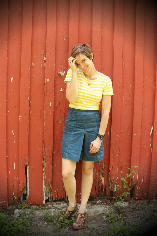 Striped Shirt with denim skirt