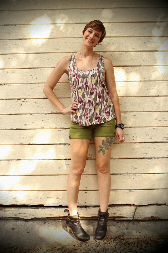 Shorts with Ankle Boots and Vinca Earrings