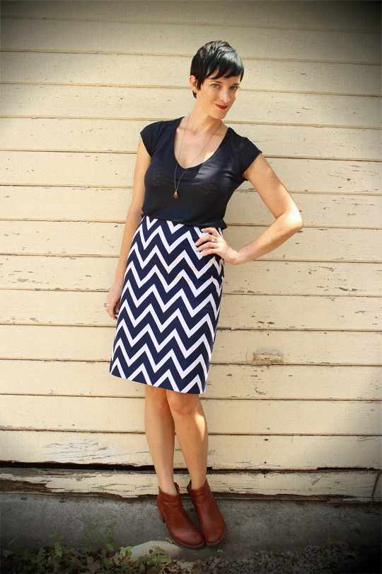 Chevron Skirt & Ankle Boots