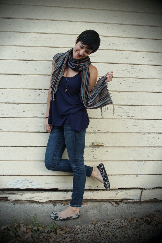 Blue Outfit with Scarf