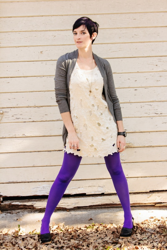 white dress, purple tights