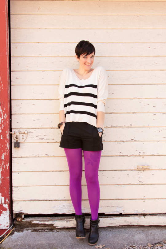 Shorts, tights, stripes outfit